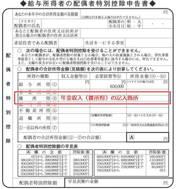 配偶者特別控除申告書の書き方、年金の記載箇所