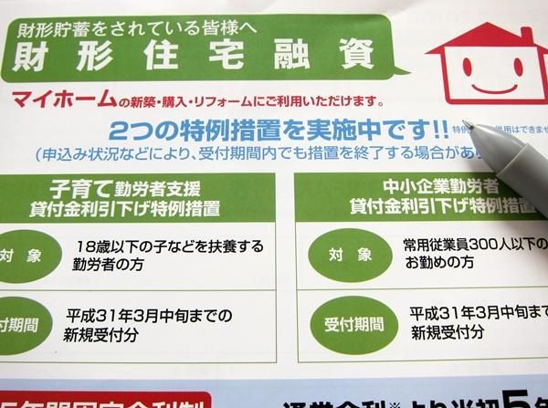 財形住宅融資の金利(利率)の仕組みと特例措置、過去の金利推移