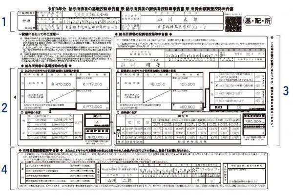 令和3年分給与所得者の配偶者特別控除申告書の書き方